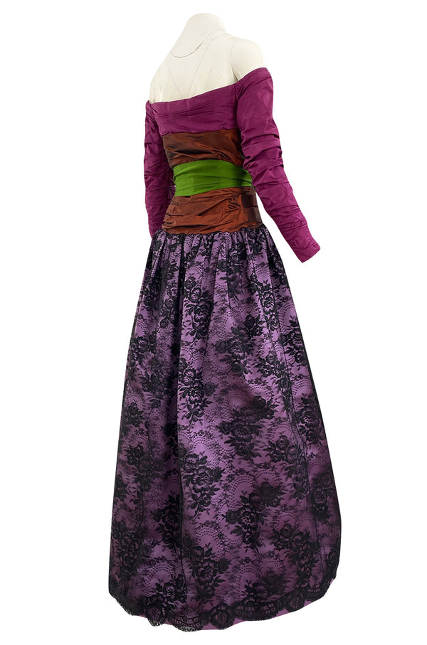 c. 1991 Yves Saint Laurent Haute Couture Purple & Bronze Silk Taffeta Dress w Lace Skirt Overlay