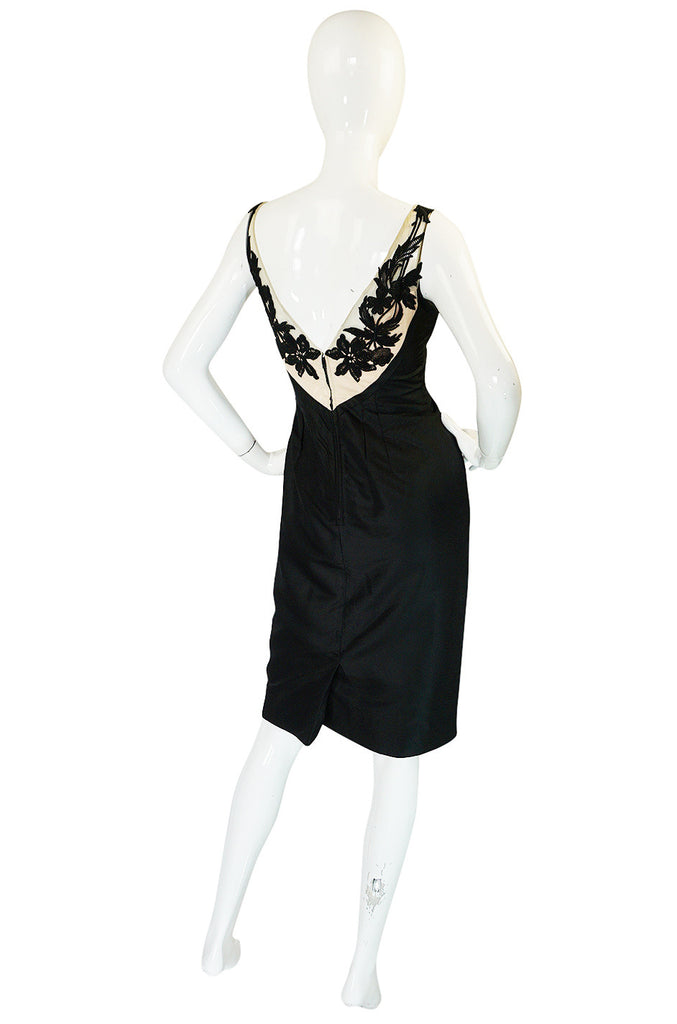 1950s Floral & Nude Applique Bust Black Silk Bombshell Dress