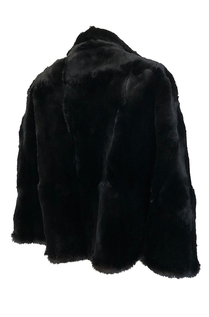 1930s Unlabeled Sheared Beaver Collared Evening Cape w Silk Lining