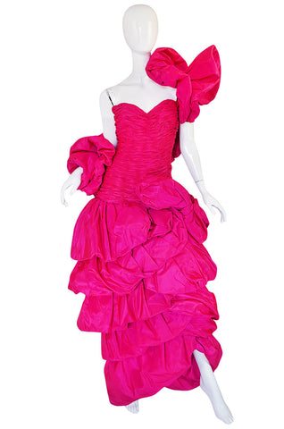 1980s Vivid & Dramatic Loris Azzaro Couture Pink Silk Gown