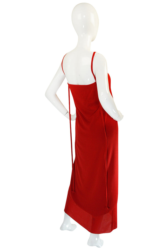 1970s Red Crepe Gathered Front Halter Bill Blass Dress