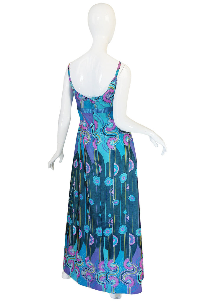 1960s Silk Voile Jean Hercey Demi-Couture Dress