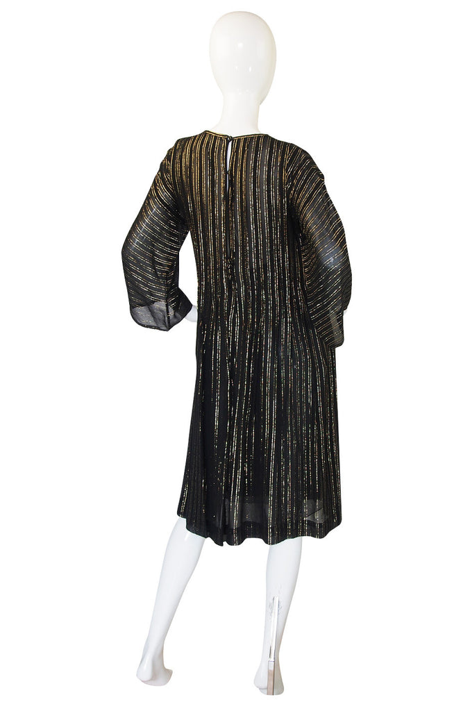 1970s Malcolm Starr Gold Thread Caftan Dress