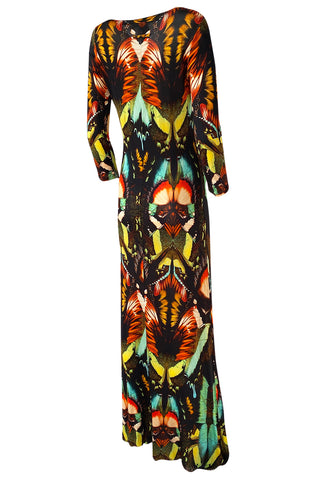 2014 Jean Paul Gaultier Butterfly Stretch Jersey Maxi Dress