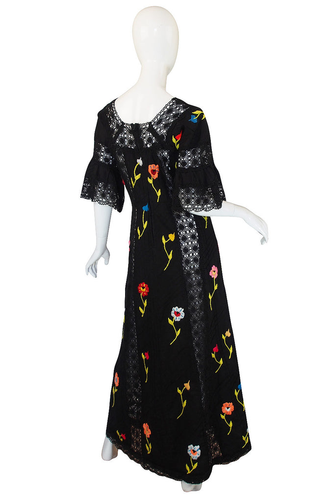 Wonderful 1960s Mexican Embroidered Maxi Dress