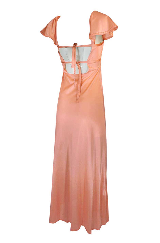 1970s John Kloss Pale Peach Nylon Open Tie Back Dress