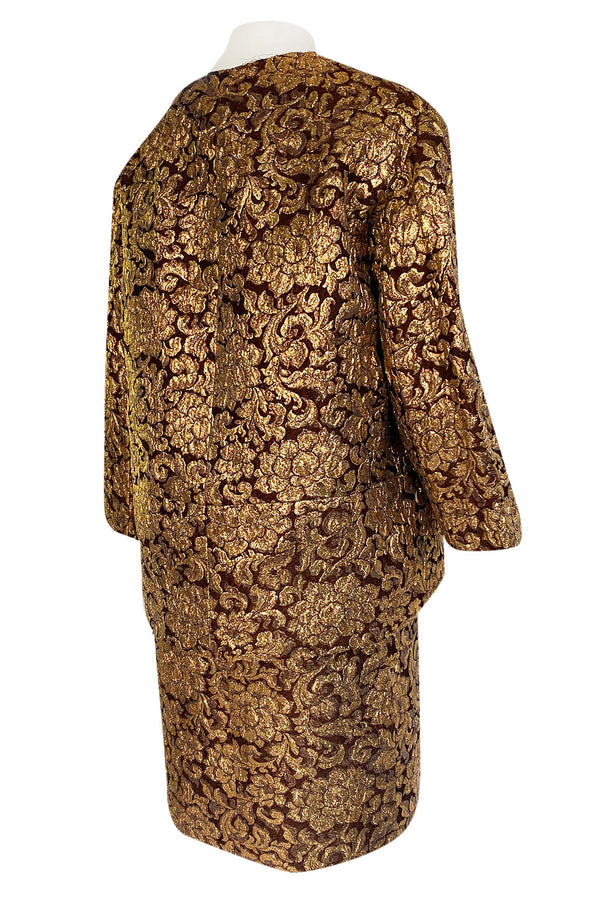 Extraordinary 1968 Christian Dior Documented Gold Metallic Silk Brocade Three Piece Dress Set