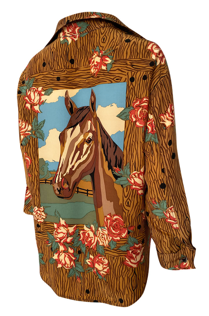 1990s Todd Oldham Horse Print Western Feel Top w Brass Buttons