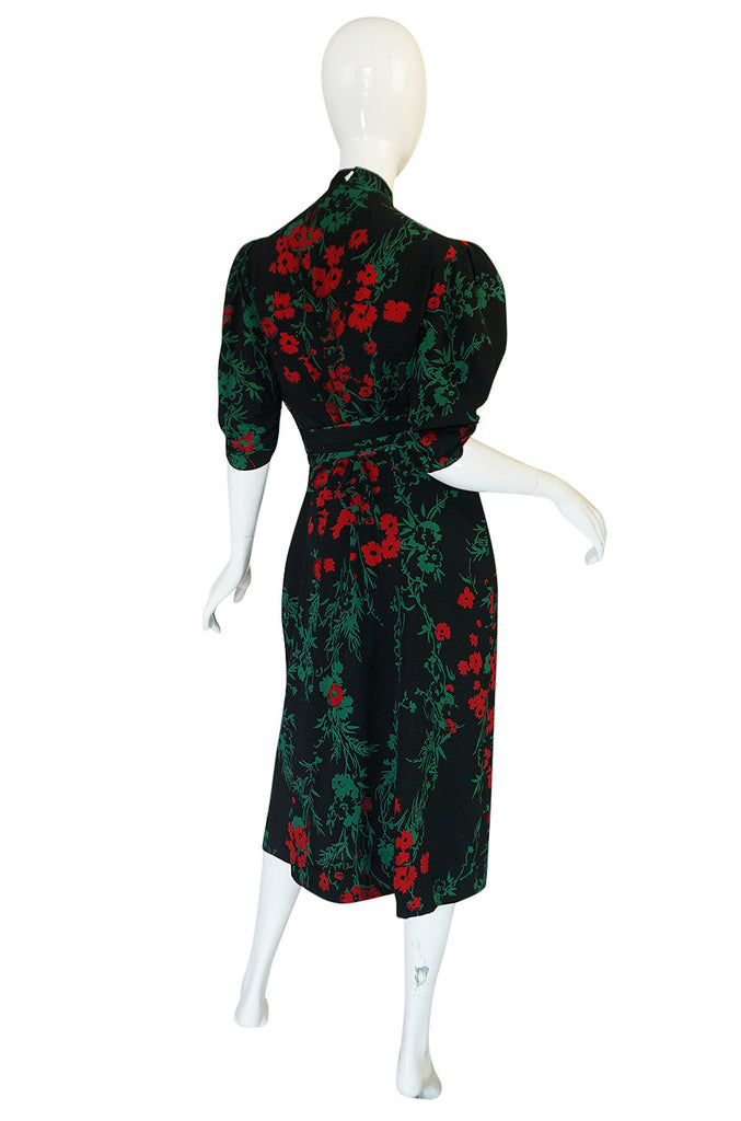 1930s Fashion Originators Guild Blue & Red Floral Silk Dress