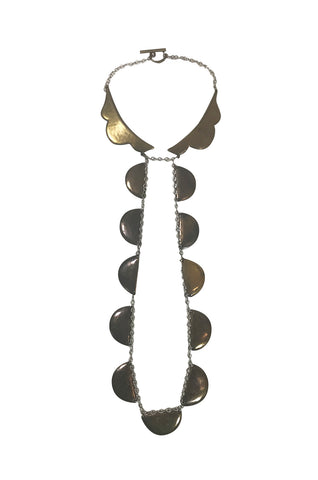Unusual 1990s Chloe Long Brass Pendant Necklace