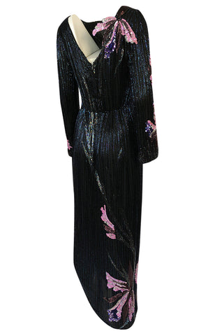Incredible 1970s Bob Mackie Hand Applied Bead & Sequin Silk 'Orchid' Dress