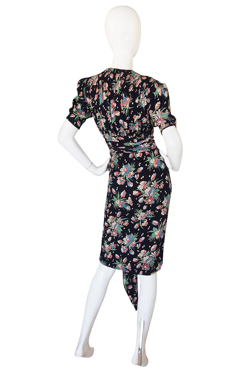"1940s Spectacular ""Gloria"" Silk Crepe Swing Dress"