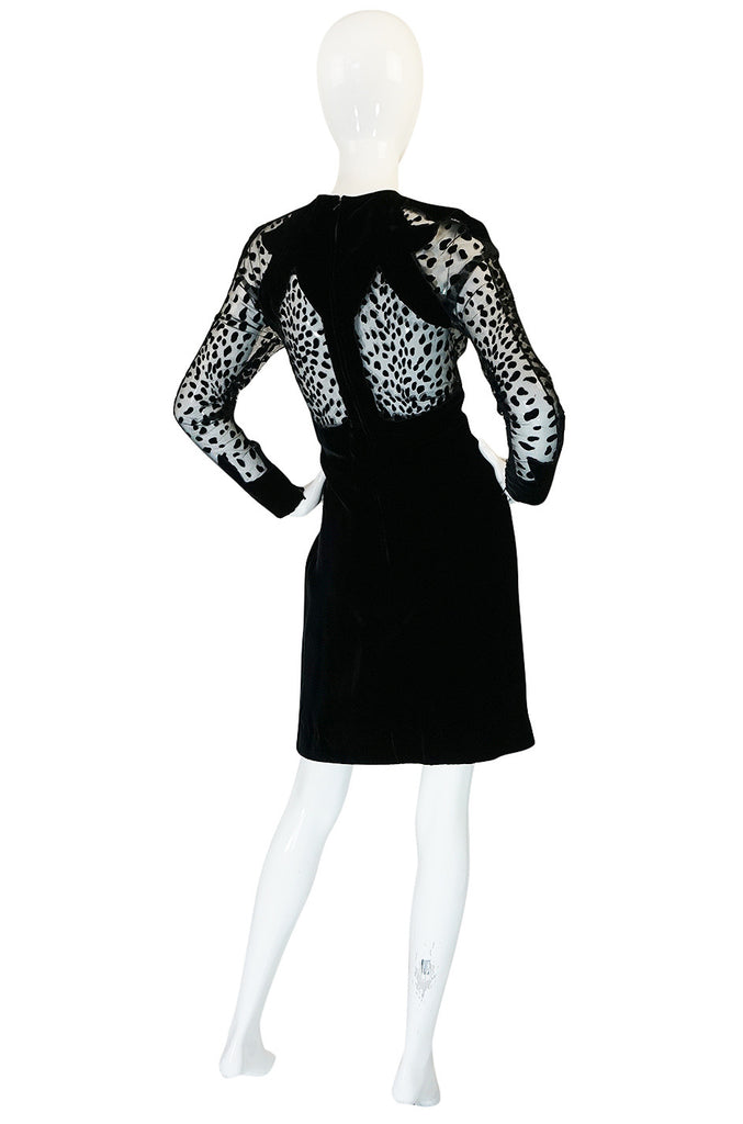 Scandalous 1980s Balmain Sheer Net & Velvet Cut Out Dress