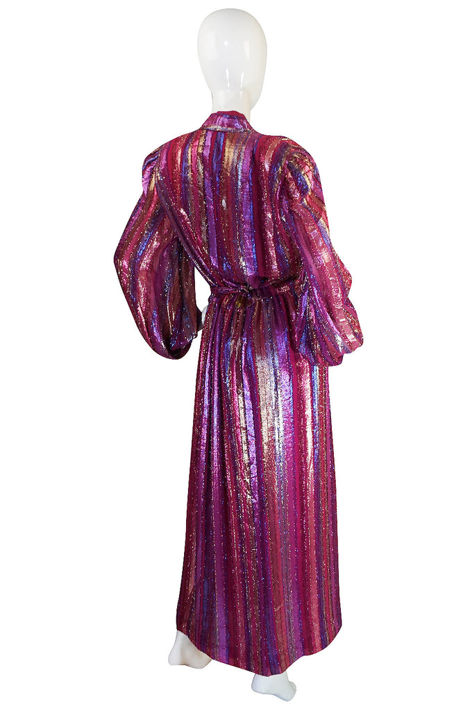1970s Striped Metallic Victor Costa Wrapped Maxi Dress