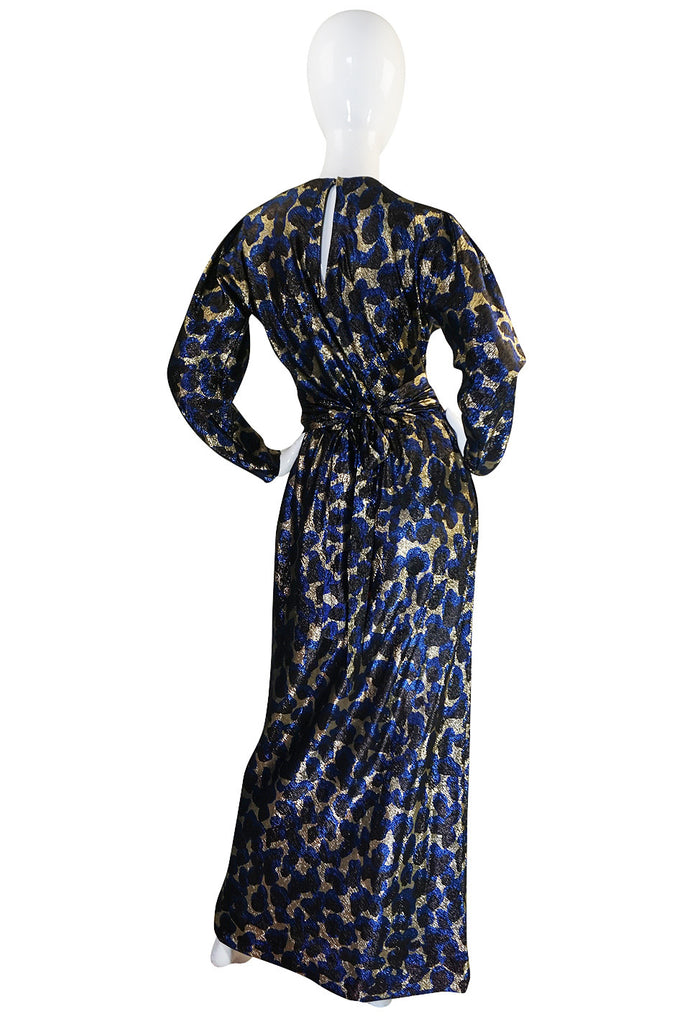 c1973 Incredible Halston Gold & Blue Metallic Silk Dress