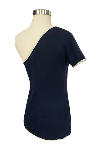 1980s Geoffrey Beene One Shoulder Navy w White Piping Top