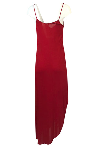 1970s Stephen Burrows Hand Beaded Red Jersey Halter Dress