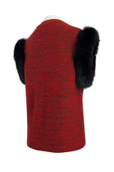 c1973 Yves Saint Laurent Deep Red Sleeveless Sweater Vest w Black Fox Trim & Pockets