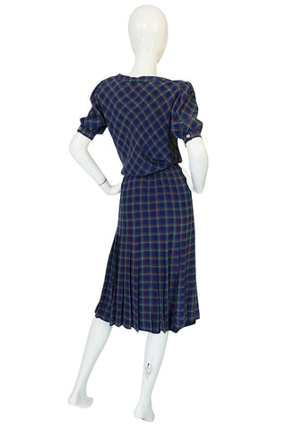 Early 1980s Chanel Silk Drawstring Top & Pleated Skirt Set