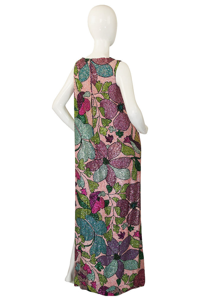 Incredible 1960s Sequin & Bead Maxi Dress