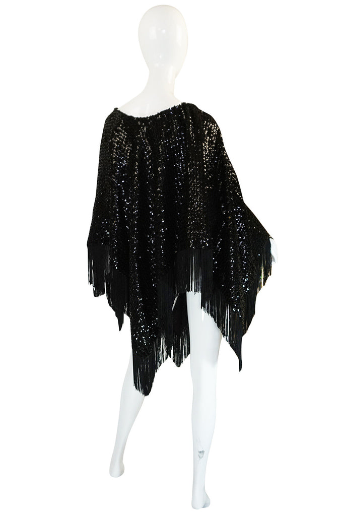 1970s Lord & Taylor Glossy Black Sequin Poncho