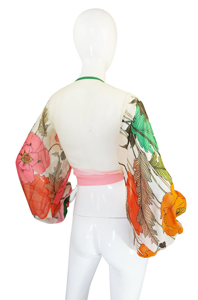 1960s Printed Ballon Sleeve Silk Chiffon Wrap Top