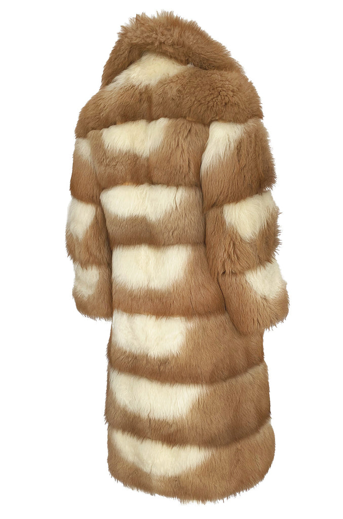 c.1968- 1972 Christian Dior Shaggy Two Toned Sheepskin Fur Coat