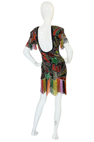 1980s Lillie Rubin Low Back Beaded Fringe Dress