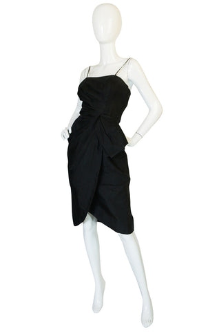 Treasure Item - 1950s Black Silk Organza Fitted Dress