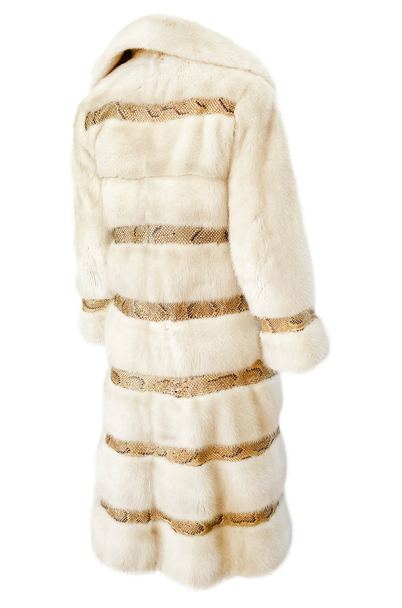 Rare 1960s Christian Dior Pale Ivory Mink Coat w Python Snake Insets