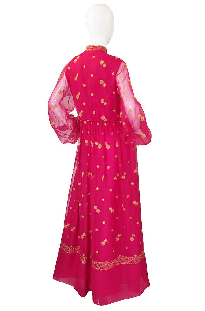 1960s Pink Chiffon & Gold Mexican Dress