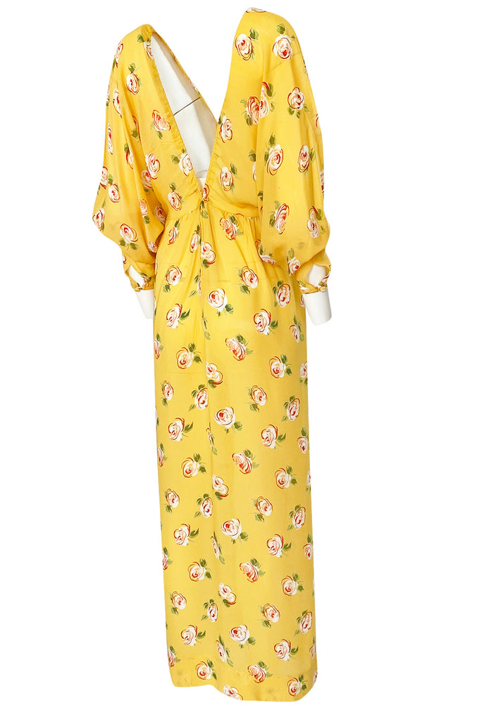 1970s Jean Varon Deep Front & Back Plunge Floral Print Yellow Crepe Dress