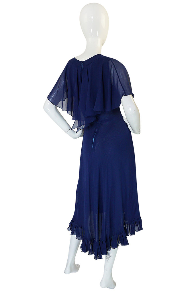 1970s Deep Blue Silk Chiffon Caped Detail Valentino Dress
