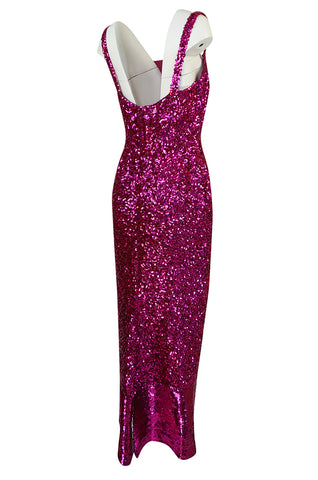1950s Mr. Blackwell Demi-Couture Densely Covered Pink Sequin Dress