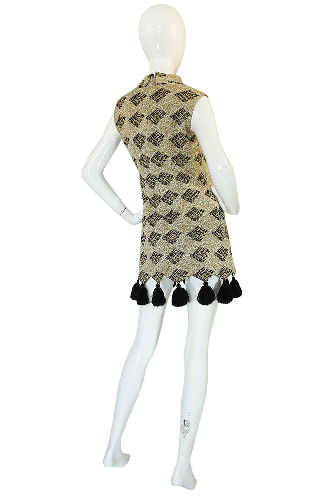1960s Pierre Balmain Knit Lurex Pom Pom Mini Dress