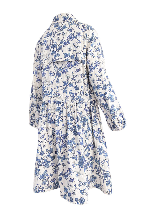 Spring 2005 Burberry Runway & Ad Campaign Blue & White Floral Print Full Cut Linen Trench Coat