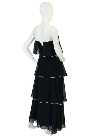 1970s Ruffle Tiered Chiffon Black Dress with Cream Trim