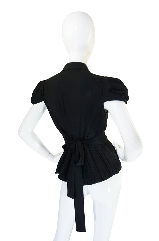 Stunnng Recent Black Silk Pleated Prada Top