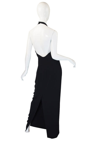 Sleek 1980s Gianfranco Ferre Backless Black Column Dress