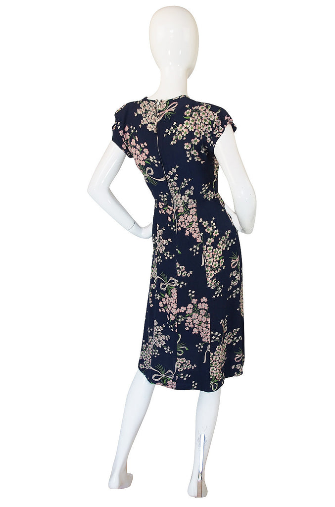 1940s Amazing Blue Floral Swing Dress