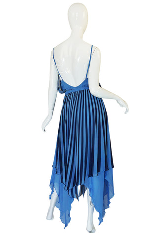 c1975-78 Roland Klein Printed Silk Chiffon Backless Dress