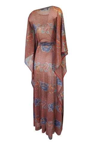 Iconic c.1972-73 Missoni Floral Print Metallic Lurex Caftan Dress