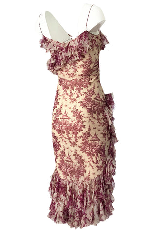 2000s John Galliano Purple Floral Print Silk Bias Cut Ruffle Dress