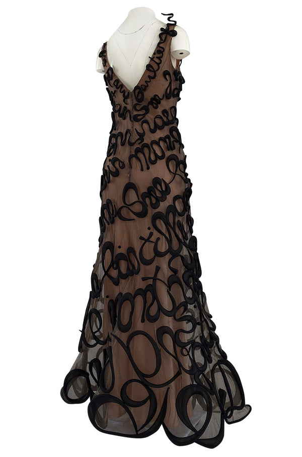 Incredible Fall 2000 Jean Paul Gaultier Haute Couture Black Net 3D 'Script' Dress over Nude Silk Interior