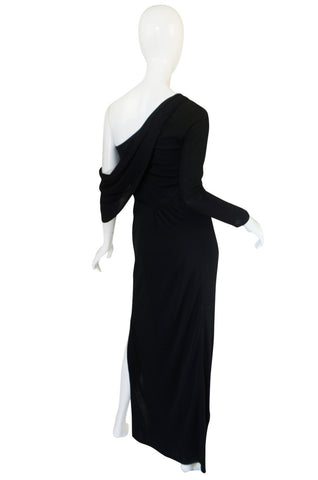 1970s One Shoulder Black Jersey John Anthony Dress