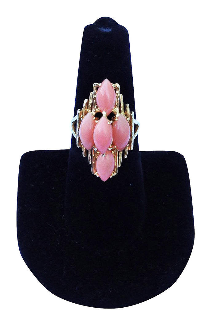 1970s Modernist Gold Coral Cocktail Ring