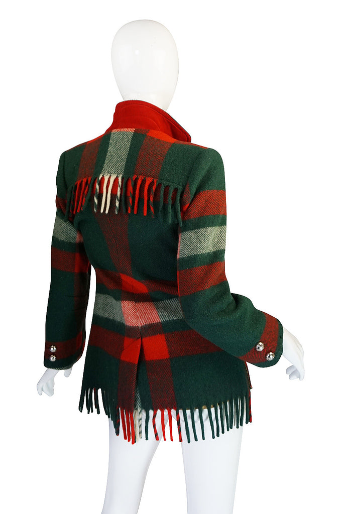 Original 1940s Western Fringe Plaid Jacket