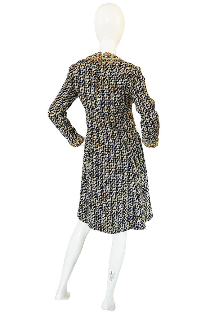 1960s Jewelled Collar Tweed Malcolm Starr Dress