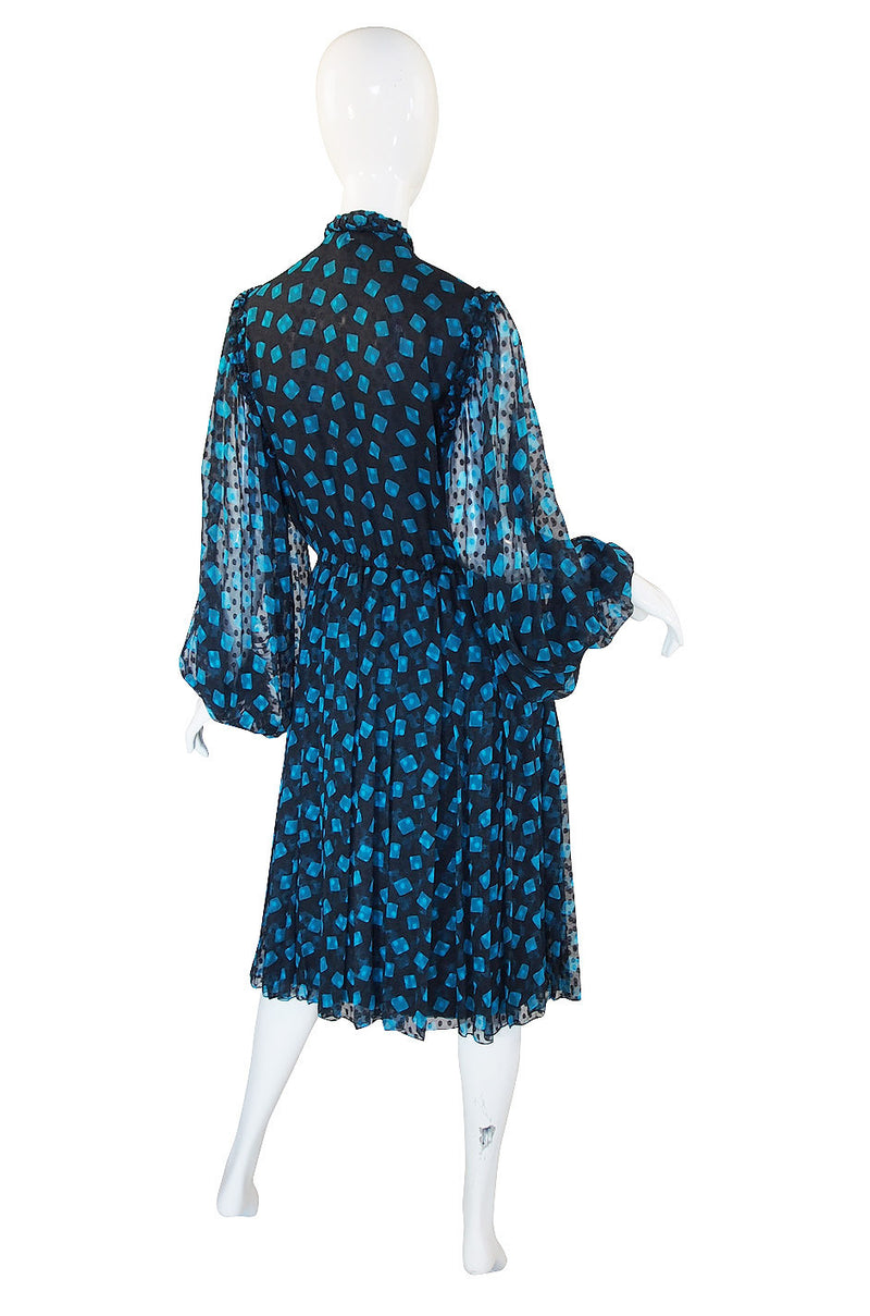 1970s Balloon Sleeve Silk Galanos Dress