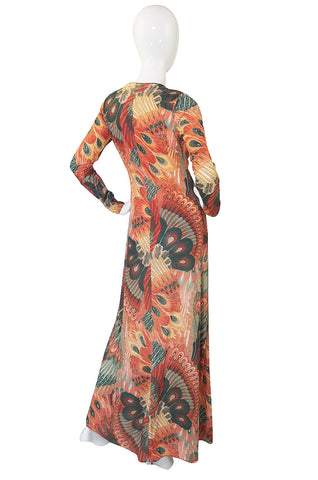 1970s John Kloss Feather Printed Nylon Maxi Dress